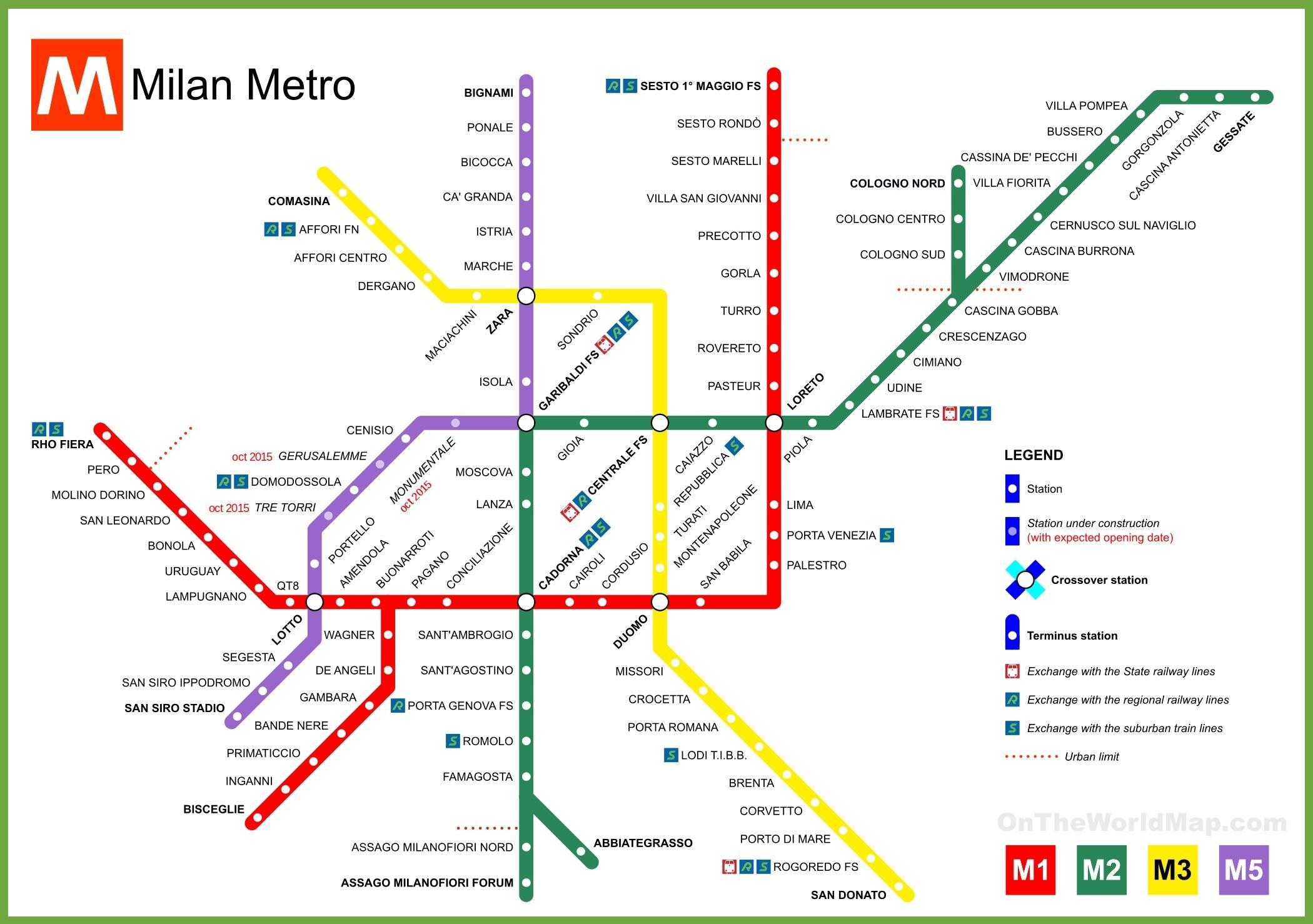 Hartă De Metrou Milano Milano Hartă De Metrou Lombardia Italia