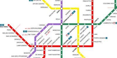 Milano Hartă Hărți Milano Lombardia Italia